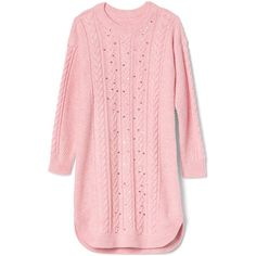 Sequin cable knit sweater dress ($58) ❤ liked on Polyvore featuring dresses, pink, tops, pink sequined dresses, sweater dress, cable sweater dress, sequin embellished dress and cable dress