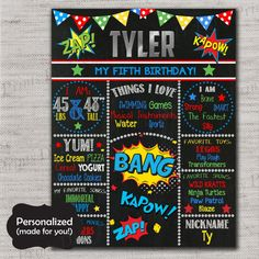 Superhero Birthday Sign,Superhero Chalkboard Printable Sign,Any Size,Personalized birthday sign,Photo prop,Birthday party sign,DPP49A