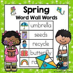 Pocketful of Centers: Freebies Math Words, Vocabulary Words, Teaching Vocabulary, Kindergarten Activities, Seasons Activities, Spring Activities, Steam Activities, Kindergarten Writing, Preschool Learning