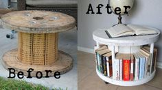 Repurpose a cable spool into a bookcase. I like this a lot! End tables? Just gotta find these spools...