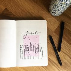 Bullet journal monthly cover page, June cover page, lavender doodles. | @mrs_katie_knight