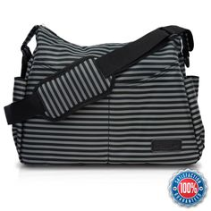 Diaper Bag by AeroBaby for Mom / Dad On-The-Go - Messenger Style Tote w/ Adjustable Crossbody Shoulder Strap, Changing Pad & Stroller Straps - Classic Black & Grey Stripes for a Boy or Girl
