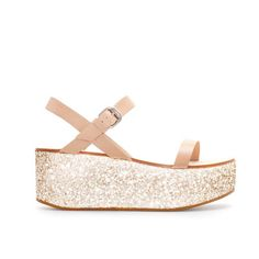 Image 1 of NAPPA LEATHER WEDGE WITH GLITTER PLATFORM from Zara