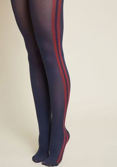 On the Stripe Track Tights - Start off your look with these navy blue tights, and you'll put yourself on the path to outfit greatness! Detailed with athletic-inspired red stripes, this pair leads your ensemble in an intriguing direction time and again. Navy Blue Tights, Black Tights, Floral Tights, Blue Stockings, Pantyhose Outfits, Nylons, Fashion Tights, Opaque Tights, Stocking Tights