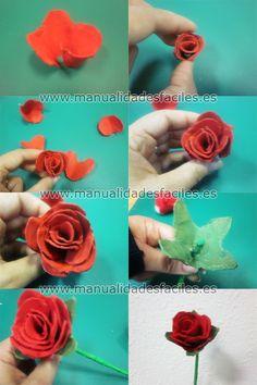 Rosa hecha con hueveras de carton