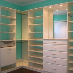Color matched my Tiffany blue paint and ordered white shelving.....my closet will soon look a lot like this!!! Just add black and grey cheetah carpet ;)