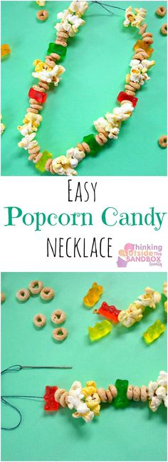 Easy popcorn necklace for your favorite toddler and kids to make! Simple craft and activity idea that turns into the perfect snack!