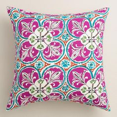 Coral Sea Tile Outdoor Throw Pillow. Mix and match pillows and cushions in fun patterns and fashionable colors to refresh your outdoor space instantly.