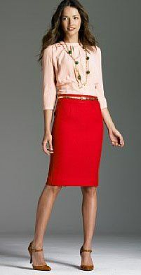 Red Pencil Skirt inspiration (I even think this is the talbots picture of my skirt.) Anyways, I like it done w/ pink