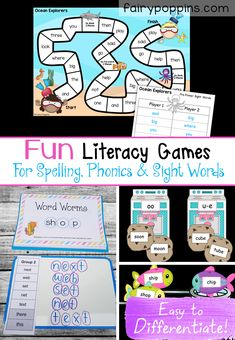 These editable literacy activities can be used to teach phonics or spelling. Kids can learn key skills by playing hands-on games and word work activities. There's also a set of free editable spelling lists. Awesome for kids in Preschool, Kindergarten, 1st Grade, 2nd Grade & 3rd Grade.  #spellingactivities #phonicsactivities #literacygames #wordwork #literacyactivities #phonicsgames #spellinggames