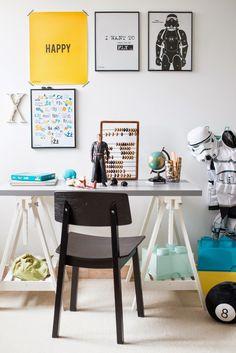 Grey painted desk top - great idea! | LINNMON / FINNVARD | Star Wars | Yellow + Grey | Minty House Blog