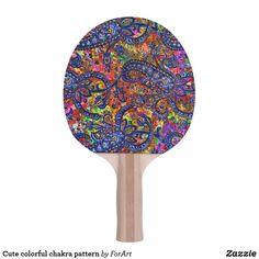 Shop Cute colorful chakra pattern ping pong paddle created by ForArt. Ping Pong Table Tennis, Ping Pong Paddles, Chakra, Colorful, Cute, Pattern, Design, Kawaii, Patterns