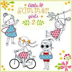 """""""little SUMMER girls 2""""   doro K. Grafik & Illustration #Sticken #Stickdatei"""