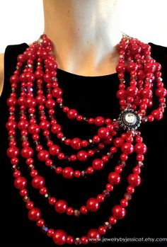 Vintage love! Six cascading strands of ravishing red pearls and crystals. #holiday perfection..     VINTAGE Statement Necklace Pink Antique by JewelryByJessicaT,