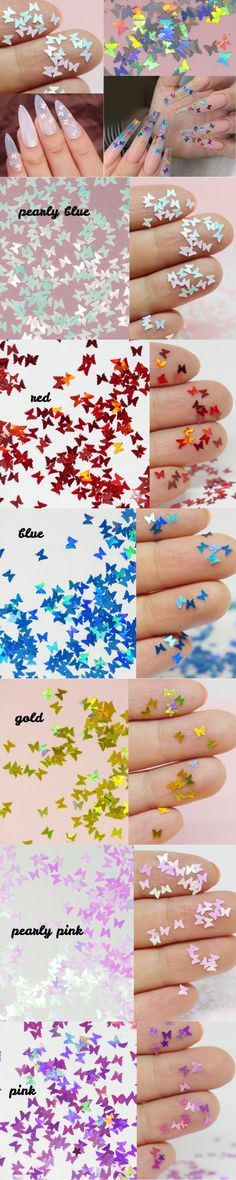 Halo Butterfly Glitter/ Nail Flakes DIY Laser Sequins/Fairy Tale rainbow starry butterfly nail polish UV gel supply/ resin crafts sequins Butterfly Nail, Nail Supply, Uv Gel, Resin Crafts, Glitter Nails, Halo, Fairy Tales, Nail Polish, Rainbow
