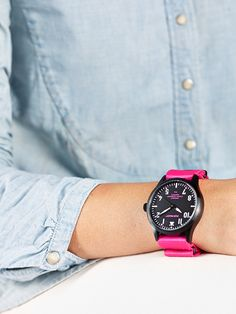 POP-PILOT® watches  PVD with a neon pink nato strap and a black casing