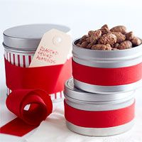 Roasted Spiced Almonds ~ Simple metal tins look cheerful when decked with leftover wrapping paper or bold grosgrain ribbon. A handwritten tag under the ribbon lets recipients know what delightful… Homemade Food Gifts, Diy Food Gifts, Edible Gifts, Spiced Almonds, Spiced Nuts, Candied Almonds, Shortbread, Do It Yourself Inspiration, Roast Pumpkin