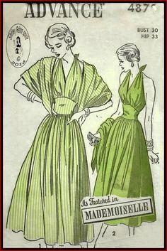 Advance 4870-1948 Vintage Sewing Patterns Advance Mademoiselle Halter Dresses Full Skirts Gathers Sleeveless Panties Sun Dresses Scarves 1940s Tie Ends V Neckline Midriff