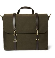 Mismo Leather-Trimmed Wool-Twill Satchel   MR PORTER