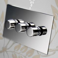 Forbes and Lomax Nickel Silver Range (Three Gang Rotary Dimmer pictured) Flat plate, sockets with black plastic. Require back boxes. Nickel Silver, Polished Nickel, Rotary, Designer Light Switches, Light Switches And Sockets, Lamp Switch, Office Lighting, Luxury Lighting, Bathroom Inspiration