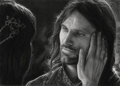 Lord of the Rings fan art. Arwen and Aragorn. What some people can do with pencils....