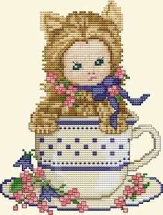 Kitten Baby From Ellen Maurer-Stroh - Cross Stitch Charts - Cross Stitch Charts - Casa Cenina Cross Stitch Baby, Cross Stitch Animals, Counted Cross Stitch Patterns, Cross Stitch Charts, Cross Stitch Embroidery, Stitch And Angel, Simple Embroidery, Animal Costumes, Baby Kittens