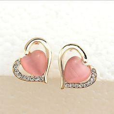 10b854d5c Heart Earring Crystal Opal Rhinestone Hollow Love Stud Earrings For Women  Cubic Zirconia Charm Female Ear