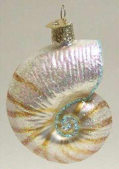 Old World Christmas Golden Seashell Ornament 12178 Nautical Decoration FREE BOX