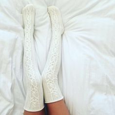 Knee High Cable Knit Thick Wool Socks, Off White, FREE SHIPPING, free... ($35) ❤…
