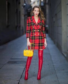 Red tartan coat dress and red leather thigh boots