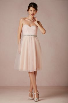 Choreography Dress from BHLDN--I LOVE this dress in rose, as a wedding dress! I'd add a one shoulder tulle piece, and accessorize with a gold sparkly belt instead of silver. Voila!! bridesmaid dresses short pink, rose pink bridesmaid dresses, blush pink, rehearsal dinner dresses, reception dresses, choreographi dress