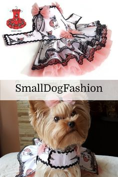 Dog dress motives of Paris with sweet tulle bows at the waistline and ruffle skirts, soft tulle skirt, embellished with a D-ring. Black lace trim on skirts ruffles decorated the dress with black rick rack trim. Girl Dog Clothes, Small Dog Clothes, Tulle Bows, Dog Clothes Patterns, Malteser, Summer Dog, Dog Items, Pet Fashion, Girl And Dog