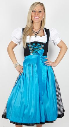 Such a gorgeous shade of bright, happy sky-turquoise blue. #dirndl #dress…