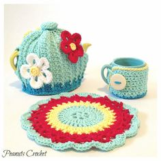 Teapot Cozy Cover, Mug Cozy and Large Potholder Kitchen Set Crochet YOU PICK Colors and Size on Etsy, $40.00