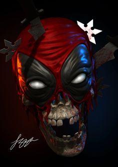 Deadpool Skull by liquid-venom