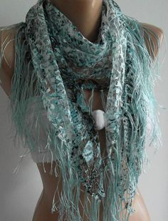 blue   grey / lace and elegance shawl / scarf  with lace by womann, $18.90