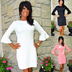 THE MILANIA Ruffle Bell Sleeve Dress Pique Knit Black Coral Off White She + Sky #SheSky #BellSleeveDress