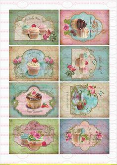 Bügelbilder - Vintage Bügelbild Muffins Cupcake DIN A4 - ein Designerstück von Doreens-Bastelstube bei DaWanda