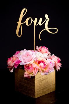 Set of Gold Wedding Table Numbers
