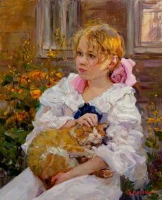 Children girl cat flowers ' modern new unposted postcard by Elena Salnikova She And Her Cat, Amor Animal, Cat Flowers, Russian Painting, Illustration Art, Illustrations, Community Art, Beautiful Paintings, Art Studios