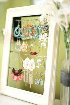 recycling wood frame for jewelry organizer