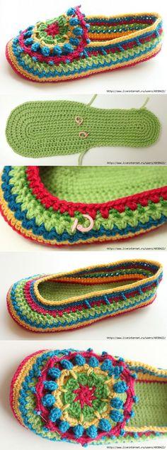 Красочные тапочки крючком.   вязание   Постила