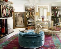 Gotta  have a sweet walk-in closet. Love the chandelier & natural lighting here in Nanette Lepore's closet. With a few tweeks, this'd be a haven in my dream home.
