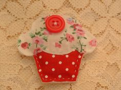 Shabby Chic Fabric Cupcake Brooch/Corsage | wowthankyou.co.uk