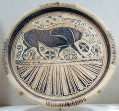 Plate* Greek, East Greek, Orientalizing Period, about B. Place of Manufacture: Rhodes, Greece Ceramic