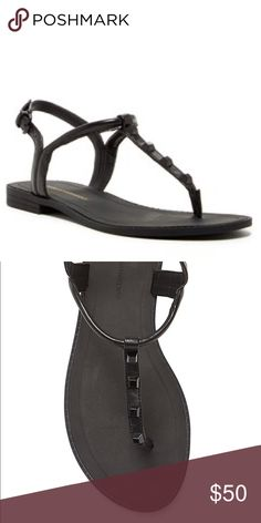 """Rebecca Minkoff Sandals Black leather with black studs. Simple yet edgy and could be worn with anything! Leather Upper. Leather Lining. Rubber Sole. Great condition, but the gold """"Rebecca Minkoff"""" on the heel of the sole has rubbed off. Will post more photos later. Box included. Rebecca Minkoff Shoes Sandals"""