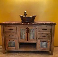 Rustic Vanity 48  Reclaimed Barn Wood w/Tin Doors