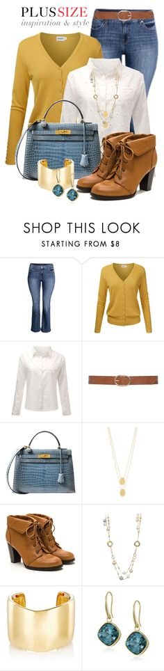 Casual Work Outfit -- #Plus Size by kimberlyn303 on Polyvore featuring H&M, Hermès, Jennifer Fisher, Jennifer Zeuner and M&Co