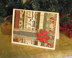 Handmade Christmas card be cute with stripes of ribbon