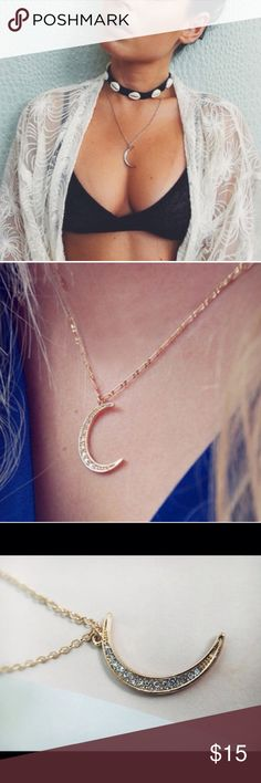 NEW Moon lunar people necklace chain drop free Brand new , unbranded delicate moon necklace with tiny rhinestone detailing. Lobster clasp. For Love and Lemons Jewelry Necklaces